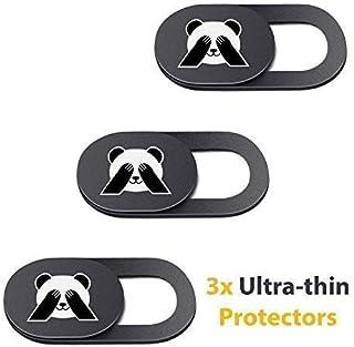 PandaPrivacy 通用网络摄像头保护套,适用于笔记本电脑、iPhone、iPad、平板电脑、Mac Air、MacBook Pro - 超薄电脑网络摄像机套 - *防护 - 黑色(3 件装)