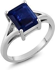 宝石大号 925 纯银蓝宝石女士订婚戒指(2.45 克拉,祖母绿切割 9X7MM,尺寸 5、6、7、8、9)