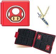 Nintendo 任天堂 Switch 游戏卡套,便携收纳盒,12 张游戏卡盒和 SD 卡的开关游戏盒(红色)
