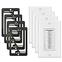 [4 件装] BESTTEN 1-Gang 刷壁板带旧工作低电压安装支架,电缆直通插入,适用于扬声器线,同轴电缆,HDMI/HDTV 电缆,网络/电话线,白色