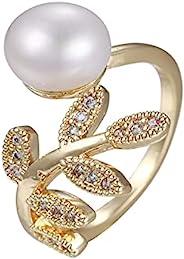 珍珠戒指   堆叠戒指   女式 14K 镀金戒指