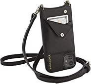 Bandolier Emma 斜挎包手机套和钱包 - 黑色皮革带金色细节 - 仅兼容 iPhone 12 Pro Max