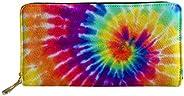 POLERO 長款錢包手包 帶卡包 女士錢包 光滑拉鏈錢包 女式 女孩 PU 皮革錢包 Rainbow Tie Dye
