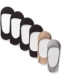 (YNMB 6双装 女式 脚套 防止脚跟鞋偏移 浅口 浅口鞋用 袜子 22~24cm 3色混色 (灰色/米色/黑色)妇女用 袜子