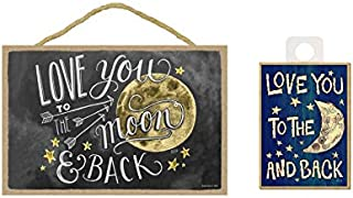 WolfDreamsDecor 17.78 厘米 x 25.4 厘米 Love You to The Moon & Back 百合与Val 艺术品 木牌匾 标牌 Love You to The Moon and Back 冰箱贴礼物