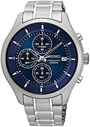 精工 SKS537P1 男士运动蓝色表盘钢制表带计时腕表