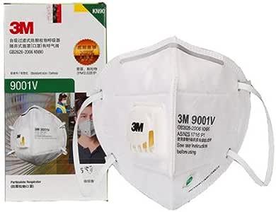 3M 9001V KN90 带阀 防尘 ***毒颗粒物 PM2.5 雾霾 骑行口罩,单个独立包装,25只/盒