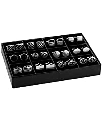 BodyJ4You 袖扣双色经典时尚男士黑色银色袖扣优雅套装礼盒 12 Pairs Set, Black and Silvertone