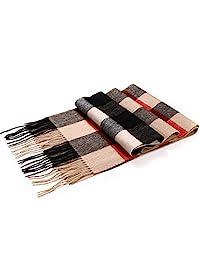 女式格子羊毛围巾带礼品盒,* 纯美利奴羊毛冬季保暖围巾披肩