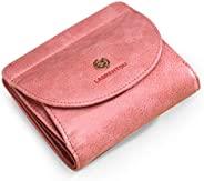 LAORENTOU 女式小钱包,真皮女士双折钱包,女式小巧钱包拉链钱包,女式硬币信用卡钱包礼品盒包装(粉色)