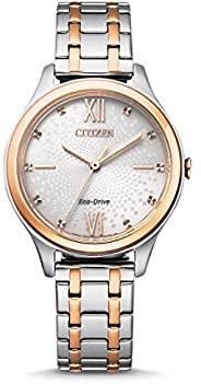 CITIZEN 西铁城女士腕表,指针式,Eco-Drive 光动能驱动,不锈钢表带,EM0506-77A