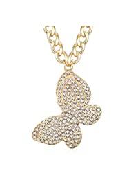 闪亮水晶可爱蝴蝶颈链项链粗合金蝴蝶项链服装珠宝 金色