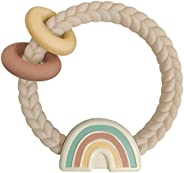 Itzy Ritzy 硅胶牙胶带摇铃;具有摇铃声,两个硅胶环和凸起的纹理,可舒缓牙龈;适合 3 个月及以上;彩虹,中性。