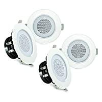Pyle 3 英寸蓝牙嵌入式嵌入式天花板双路家庭音箱系统内置 LED 灯铝制外壳弹簧弹簧弹簧夹聚丙烯锥和高音立体声 200W,一套 4 个 (PDIC4CBTL3B)