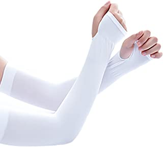 Denpetec UV 防护臂套 男女适用 - 纹身罩衫 - 凉爽运动运动套适用于棒球篮球跑步,3 双(白色)