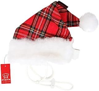 Puppia Santa Claus 帽子,中号,方格红色