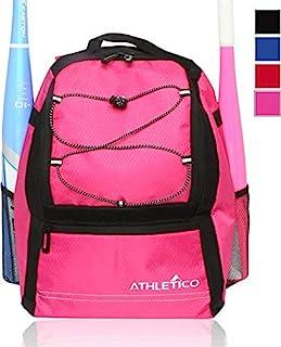 Athletico 青年棒球包 - 棒球、T 型棒球和垒球装备和装备的蝙蝠背包 | 可容纳球棒、头盔、手套 | 栅栏钩