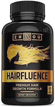 Zhou Nutrition HAIRFLUENCE-头发增长口服营养素,使头发更长,更强壮,更健康-科学配方包含生物素,角蛋白,竹子等 -适用于所有发质-素食胶囊