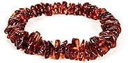 AMBERAGE 天然波罗的海琥珀手链成人(女士/男士) - 手工抛光/认证波罗的海琥珀串珠(4 色)