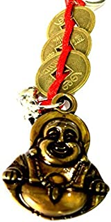 DevDeep Chrismas 特别风水红中国结 3 枚硬币带笑布哈钥匙圈/钥匙链/流苏将 3 个天堂祝福带到您的家中。