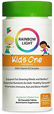 Rainbow Light Kids One儿童多种维生素和矿物质咀嚼片,90片,不含大豆和麸质