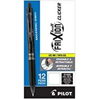 PILOT 百乐 FriXion Clicker可擦,可替换笔芯和可伸缩中性笔,细笔尖,黑色墨水,12支(31450)