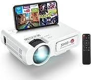 手机投影仪 SHOU 5G WiFi 迷你投影仪 1080P 全高清支持,带智能手机屏幕同步的电影投影仪,与安卓、iOS、Fier TV、PS5、AV、VGA、HDMI、USB、TF[2021 *]