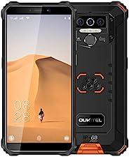 Oukitel WP5 解锁坚固智能手机 - 8000mAh 电池 IP68 防水 Android 10 解锁手机 4G LTE 双 SIM 卡,5.5 英寸 4GB 32GB 三重相机面部/指纹解锁(黑色和橙色)