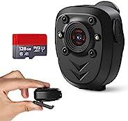 Body Cop 相機內置 128GB 內存卡 1080P 可穿戴便攜式運動攝像頭帶夜視口袋夾紅外行車記錄儀網絡攝像頭,適用于家庭/辦公室/執法/保安(黑色帶128GB 卡)