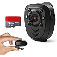 身体摄像机 内置 128GB 内存卡 1080P 警察视频录像机可穿戴便携式*摄像头网络摄像头,带夜视口袋夹红外行车记录…