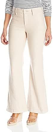 NYDJ 女式娇小尺寸 Claire 纹理亚麻长裤 天然 14 Petite