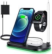 WAITIEE 无线充电器,4 合 1 无线充电支架,适用于 Apple Watch 系列 SE,6,5,4,3,2,1,AirPods Pro 和 Apple Pencil,15W 快速底座充电站,适用于 iPhone