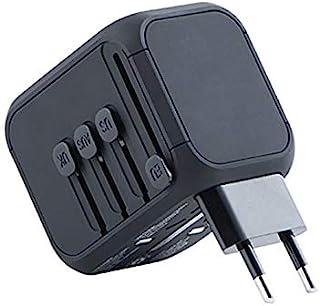 Kanex GoPower 通用国际旅行电源适配器带高速 2.4A USB,3.0A Type-C 壁式充电器,欧洲适配器,全球交流插座插头适配器,适用于欧洲、英国、美国、澳大利亚、亚洲-黑色