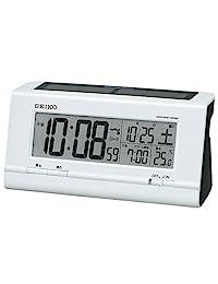 セイコークロック 電波數碼目ざまし 手表太陽能電波手表混合類型塑料框 白