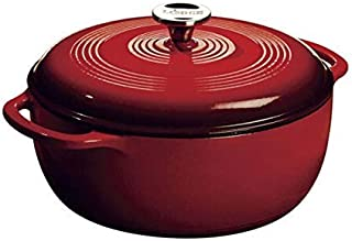 Lodge 荷兰珐琅铸铁砂锅,带不锈钢旋钮和环形手柄,红色,6夸脱(约5.68升)