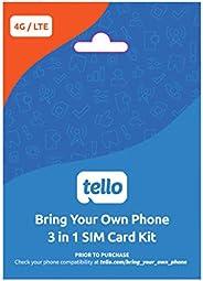 Tello Mobile - 自带手机 - 3 合 1 GSM SIM 卡套件