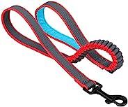 Kurgo 狗用弹簧牵引绳,狗狗跑步牵引带,弹力绳轻松拉动,加垫手柄,蓝色/灰色,30 英寸(约 76.2 厘米)长