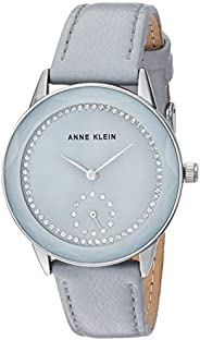 Anne Klein Women's Swarovski Crystal Accented Rose Gold-Tone and Burgundy Leather Strap W