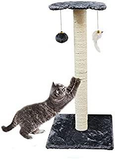 Aipety 猫抓柱 30 英寸(约 76.2 厘米),天然剑麻猫抓架,猫刮塔,带两个互动铃铛玩具