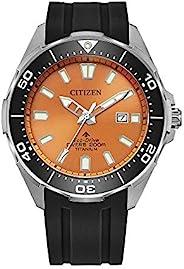 Citizen 男士 Promaster Diver 橙色表盘黑色硅胶表带手表