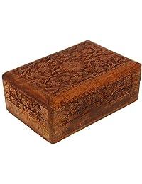 CRAFKART 木质艺术凯尔特盒 - 手工制作无与伦比的品质 - 独特的手镯纪念品盒 - 原木工艺艺术 - 凯尔特礼物、戒指、饰品木质首饰盒