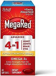 Schiff 旭福 MegaRed Advanced 4合1 软胶囊,40粒,Omega-3鱼和磷虾油补充剂900mg,2倍Omega-3,关节,眼部补充剂