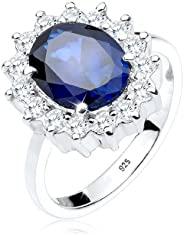 elli 女式925標準純銀 xilion cut 藍寶石和藍色鋯石戒指