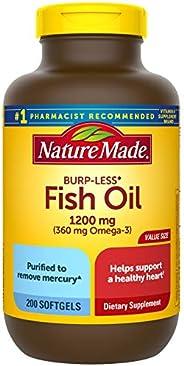 Nature Made 天维美 无嗝鱼油1200毫克软胶囊,200粒,有益于心脏†(包装可能不同),1200毫克