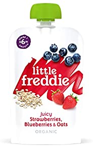 Little Freddie 6个月婴儿食品,草莓、蓝莓和燕麦果汁,6小袋装(6x100克),共600克