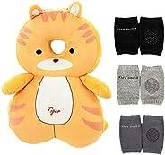 Feidoog 4 件装|婴儿头部保护垫背包,带 3 个婴儿护膝,适用于散步和爬行,适合 5-24 个月年龄(加大)