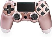 PS4 控制器无线蓝牙游戏手柄 适用于 Sony 索尼 Playstation 4 带 USB 线 兼容 Windows PC 和 Android iOS【*版】玫瑰金