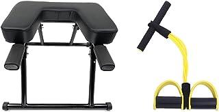 OGODU 黑色瑜伽头手持支架带黄色锻炼阻力带