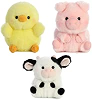Aurora World 猪、牛和鸡毛绒毛绒玩具 - 农场动物主题 3 件装 Rolly Pet 物品,每包 5 英寸