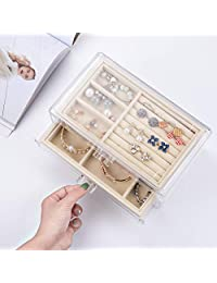 Polmart 女士首饰盒,带 3 个抽屉,天鹅绒珠宝收纳盒,用于耳环手镯项链和戒指存储透明亚克力首饰盒,适合女孩,米色